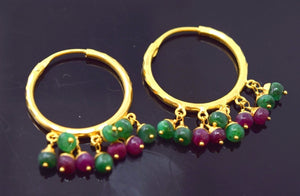 22k 22ct Solid YELLOW Gold ELEGANT RUBY EMERALD STONE HOOP BALI EARRINGS E1333