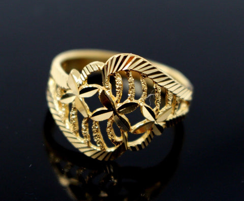 "22k Solid Gold DESIGNER DIAMOND CUT LADIES RING SIZE 7.5 ""RESIZABLE"" R1606 