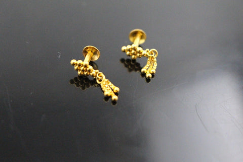 22k 22ct Solid Gold ELEGANT ROUND TOPS EARRING Simple Floral Design E5591