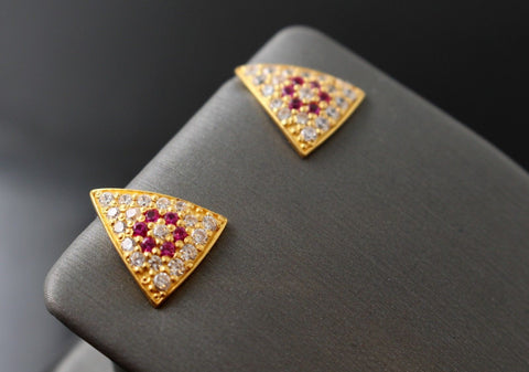 22k Jewelry Solid Gold ELEGANT Charm Ruby triangular shape earrings studs e5459