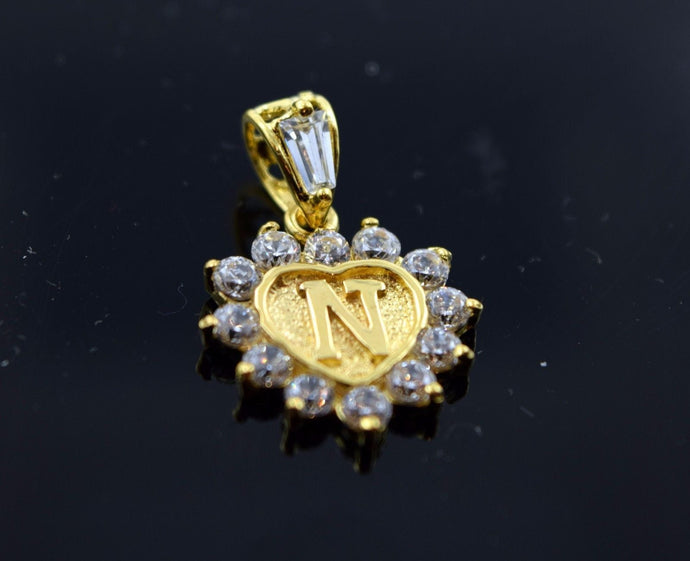 22k Jewelry Solid Gold Heart Shape Pendent N letter with Stone pn1