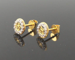 22k 22ct Solid Gold ELEGANT TINY ROUND ZIRCONIA TOPS EARRING E5523 | Royal Dubai Jewellers