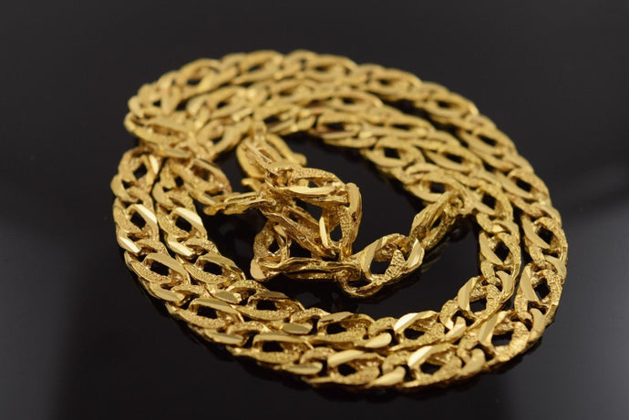 22k Yellow Solid Gold Chain Rope Necklace Cuban Curb Figaro 6.2mm C118 Mens | Royal Dubai Jewellers