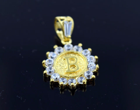 22k Solid Gold Round Shape Pendent B letter p312