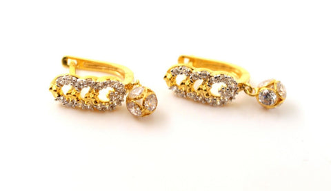 22k Jewelry Solid Gold ELEGANT ZIRCONIA CLUSTERED CLIP ON earrings studs e5497