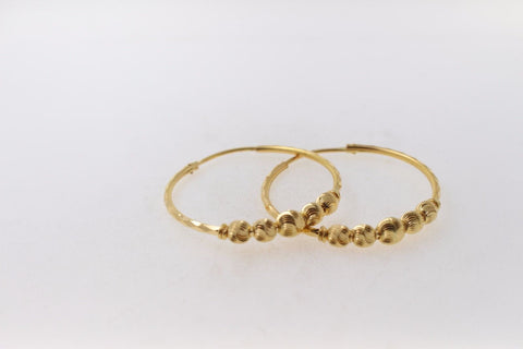 22k 22ct Solid Gold ELEGANT Extra Large Hoops Earring Modern Design e5118 | Royal Dubai Jewellers