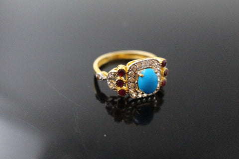 "22k 22ct Solid Gold ELEGANT Antique Ladies Stone Ring SIZE 8 ""RESIZABLE"" r1547 