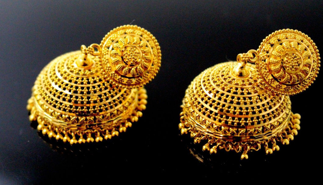 22k 22ct Jewelry Solid Gold JHUMKIE LONG JHUMKE DANGLING JHUMKA Earring E5883