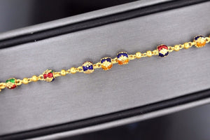 22k 22ct Solid Gold FANCY Ladies CHARM Enamel BEAUTIFUL Bracelet B675