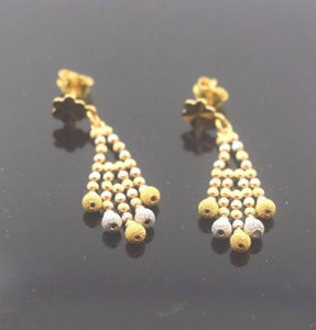 22k 22ct Solid Gold ELEGANT LONG EARRINGS with free box E585