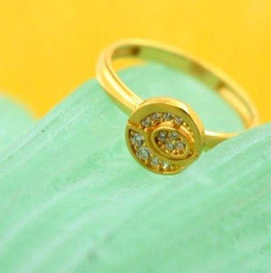 "22k 22ct Solid Gold CUTE ROUND ZIRCONIA BABY KID Ring ""RESIZABLE"" size 4.2 r739"