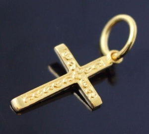 22k 22ct Solid Gold Christian Cross Pendant Charm Locket Diamond Cut p739 - Royal Dubai Jewellers