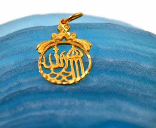 22k 22ct Solid Gold MUSLIM RELIGION ALLAH ROUND pendant locket p591