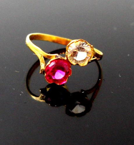 "22k 22ct Solid Gold BEAUTIFUL BABY Ring Pink Stone SIZE 0.9 ""RESIZABLE"" r1230"