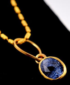 "22k 22ct Solid Gold ELEGANT NATURAL BLUE SAPPHIRE STONE ROUND 4""CT pendant p594"