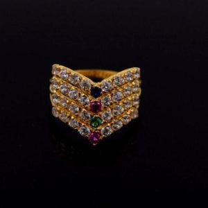 "22k 22ct Solid Gold ELEGANT STONE Ring Band with Box ""RESIZABLE"" R558"