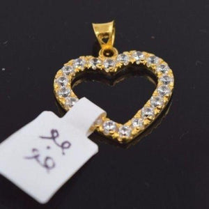 22k 22Ct Solid Gold ELEGANT STONE HEART Pendent P422 with unique box