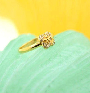 22k 22ct Solid Gold CUTE ZIRCONIA ELEGANT BABY KID Ring RESIZABLE size4.2 r740 | Royal Dubai Jewellers