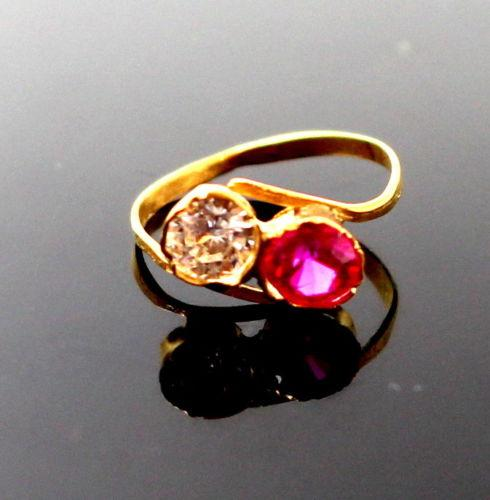 22k 22ct Solid Gold BEAUTIFUL BABY Ring Pink Stone SIZE 0.9