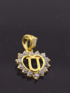 "22k 22ct Solid Gold STONE ""U"" LETTER HEART ALPHABET Pendant free box P342 