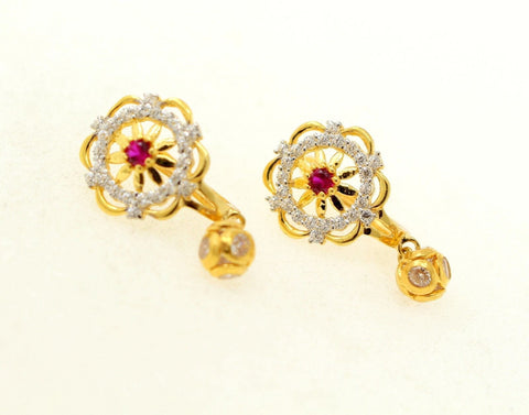 22k Jewelry Solid Gold ELEGANT ZIRCONIA CLUSTERED CLIP ON earrings studs e5489