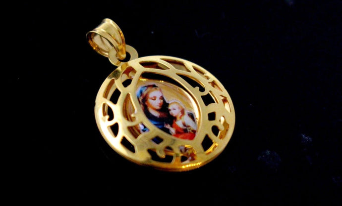 21k 21ct Solid Gold Mary Christian Pictured Religious Round Shape Pendent P1313