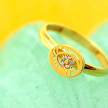 "22k 22ct Solid Gold CUTE ROUND ZIRCONIA BABY KID Ring ""RESIZABLE"" size 4.2 r752 - Royal Dubai Jewellers"