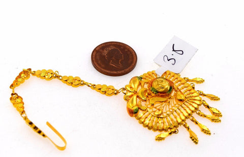 22k 22ct Yellow SOLID Gold ELEGANT LIGHT HEART ENAMEL MANGTIKKA TIKA WOMAN T15