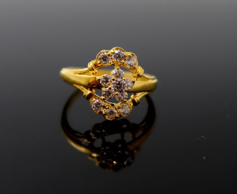 "22k 22ct Solid Gold DIAMOND CUT FLOWER LADIES RING SIZE 6.0' RESIZABLE"" R1631"