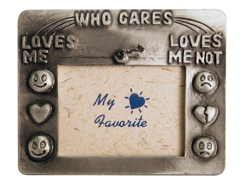 Pewter frame 'who cares'
