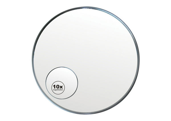 Stainless steel round wall mounted mirror with 10x magnification