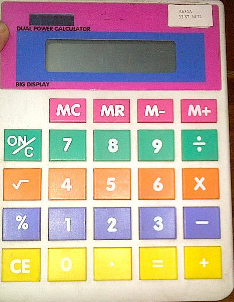 Multi colour 8 digit calculator