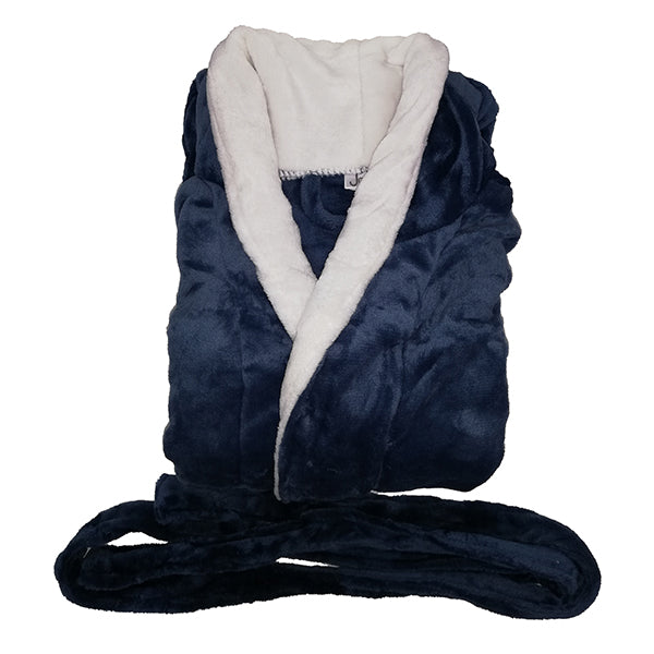 Blue with white collar flannel fleece bathrobe (280g)