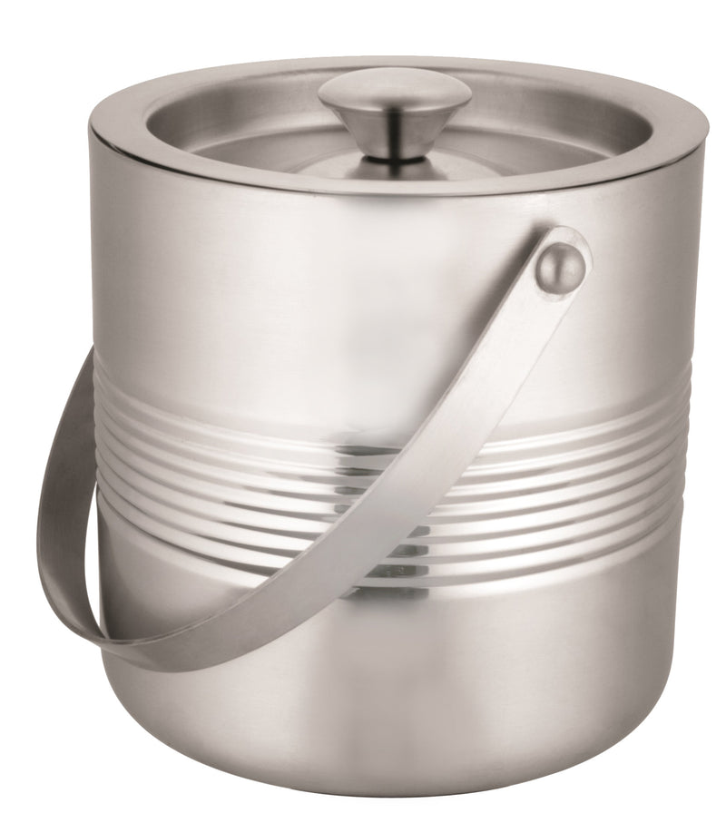 Stainless steel double wall ice bucket with handle and lid