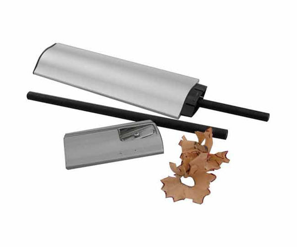 Nickel satin and aluminium pencil holder, sharpener and 2 black pencils