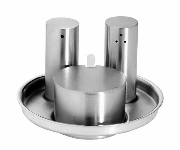 Matt stainless steel condiment set juno