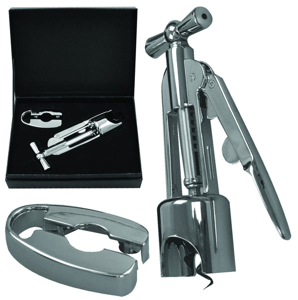 Zinc alloy corkscrew and foil cutter in presentation box