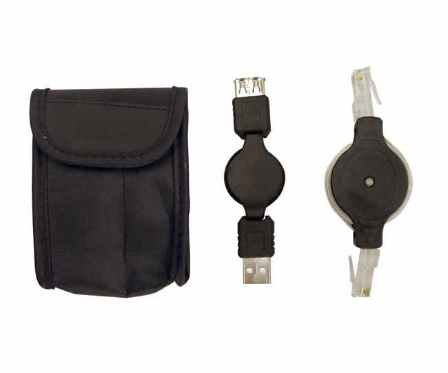 Computer cable set with LAN and USB cable extension in nylon pouch