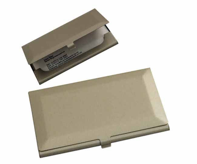 Heavy duty matt silver business card holder diamond