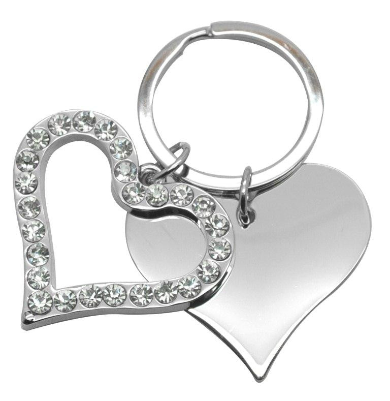 Silver double heart crystal outline solid metal keyring in gift box