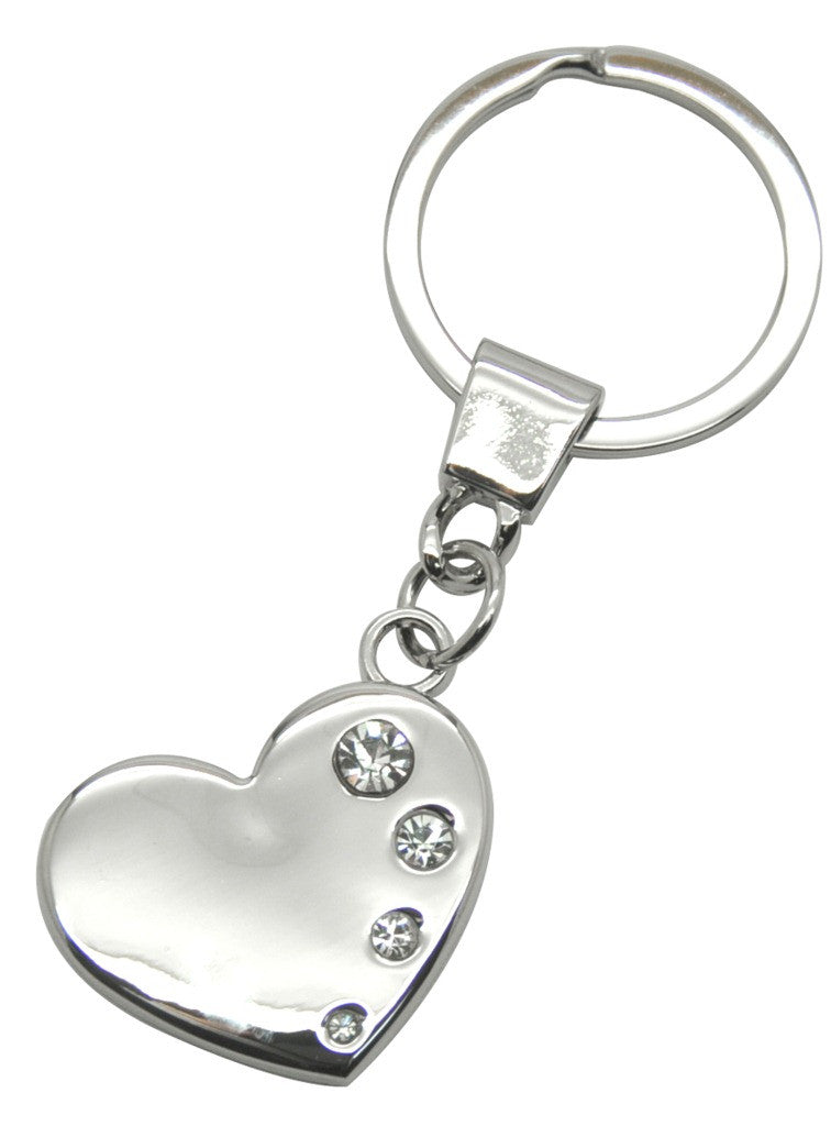 Silver bling 'heart' shaped keyring with 4 crystals in gift box