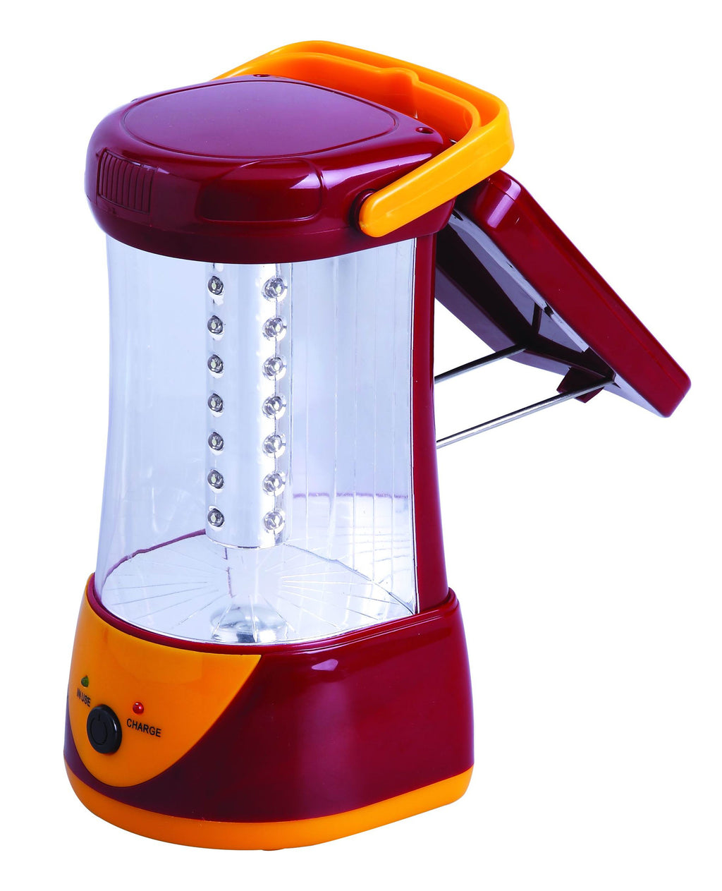 Burgundy and orange rechargeable lantern with 32 super bright LED bulbs