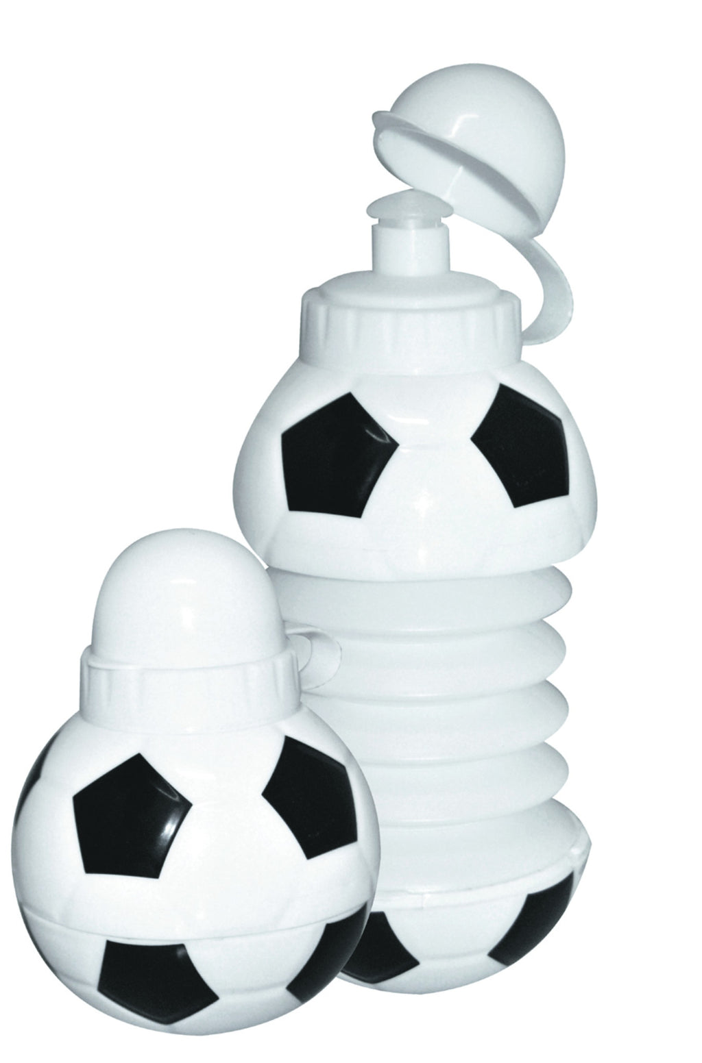 Black and white expandable 'soccer ball' water bottle (400ml), Flasks and Mugs - Presence