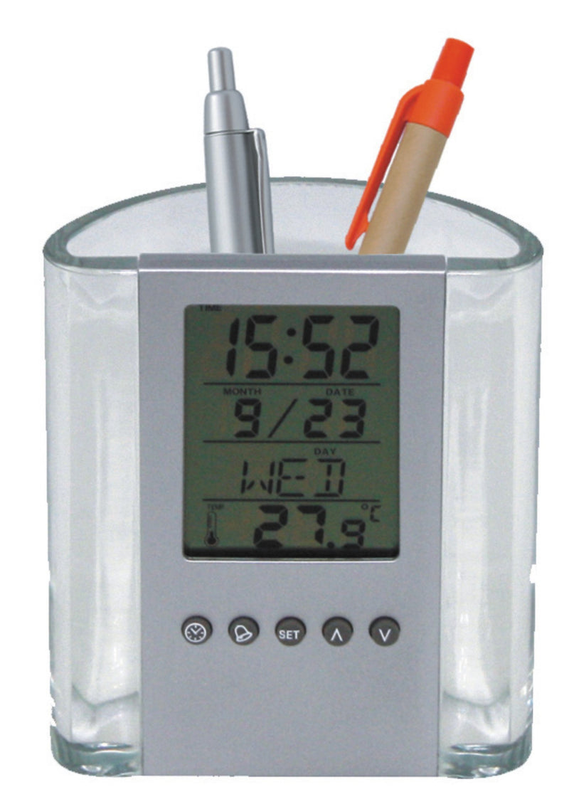 Transparent and silver pen holder with alarm clock, calendar and thermometer