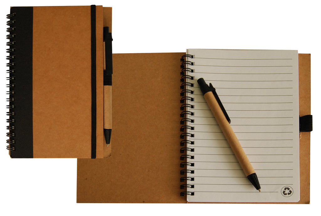 Black trim recycled notebook with recycled ballpoint pen