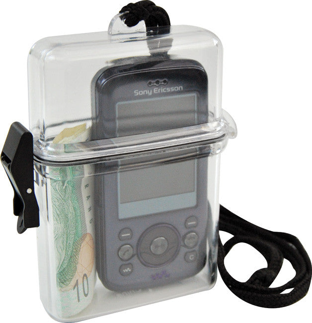 Clear beach box with black neck cord