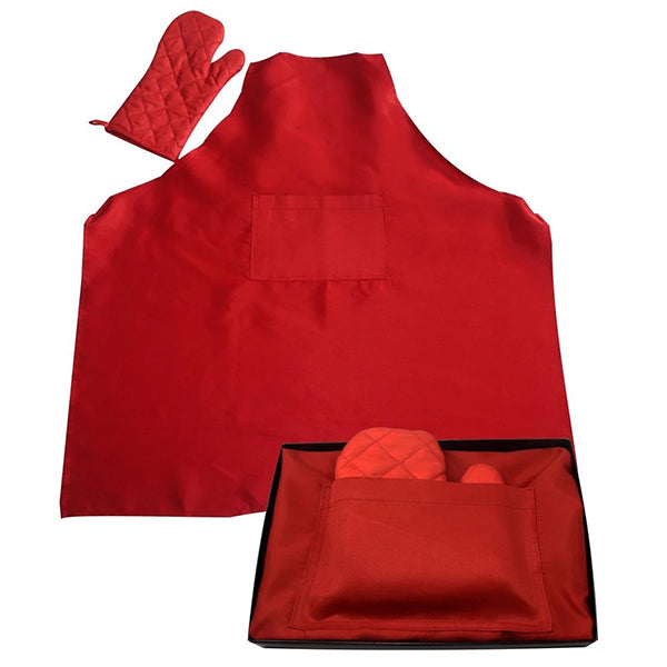 Red deluxe braai apron and glove set