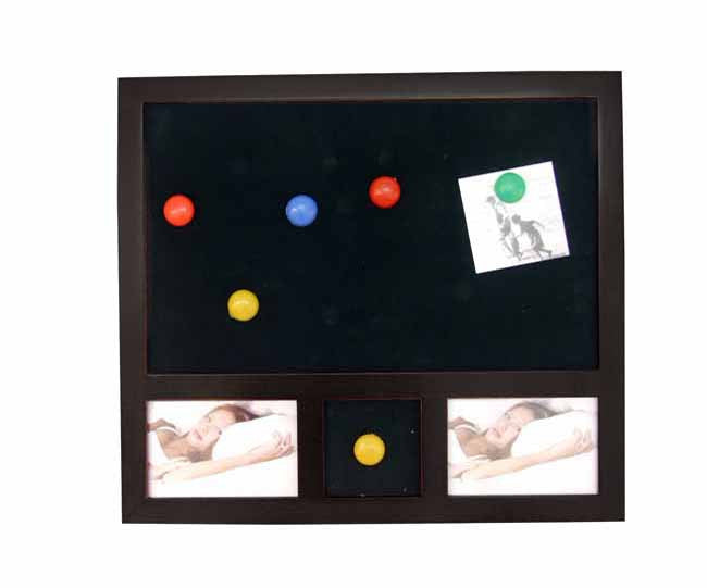 Black wood magnetic notice board with photo frame