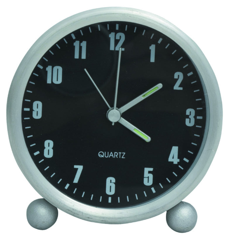 Aluminium and black table alarm clock with luminous hands, Hospitality - Presence