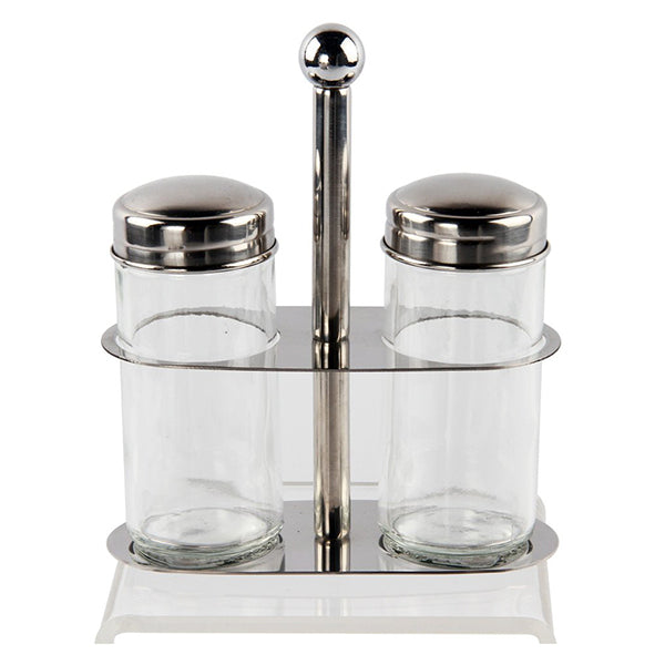 3pc stainless steel mirror finish and glass salt and pepper set